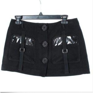 Sonia Rykiel Designer Goth Black Button Mini Skirt